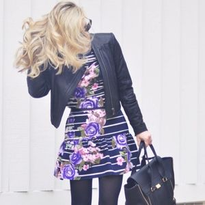 Striped Floral Drop Waist Dress with Ruffle MUSE